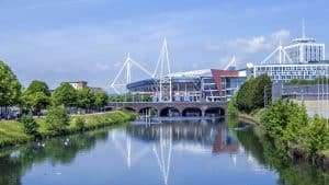 View from the river outside Cardiff Serviced apartment