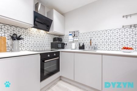 Well Equipped serviced apartment kitchen with all built in appliances